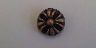 8mm Flower Patterned Disc Spacer Bead - Copper Plated