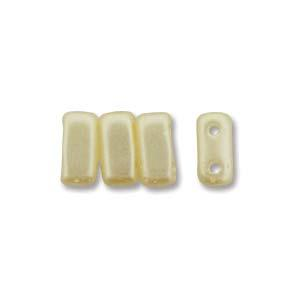 3x6mm Czech Mates Two Hole Brick in Pastel Cream