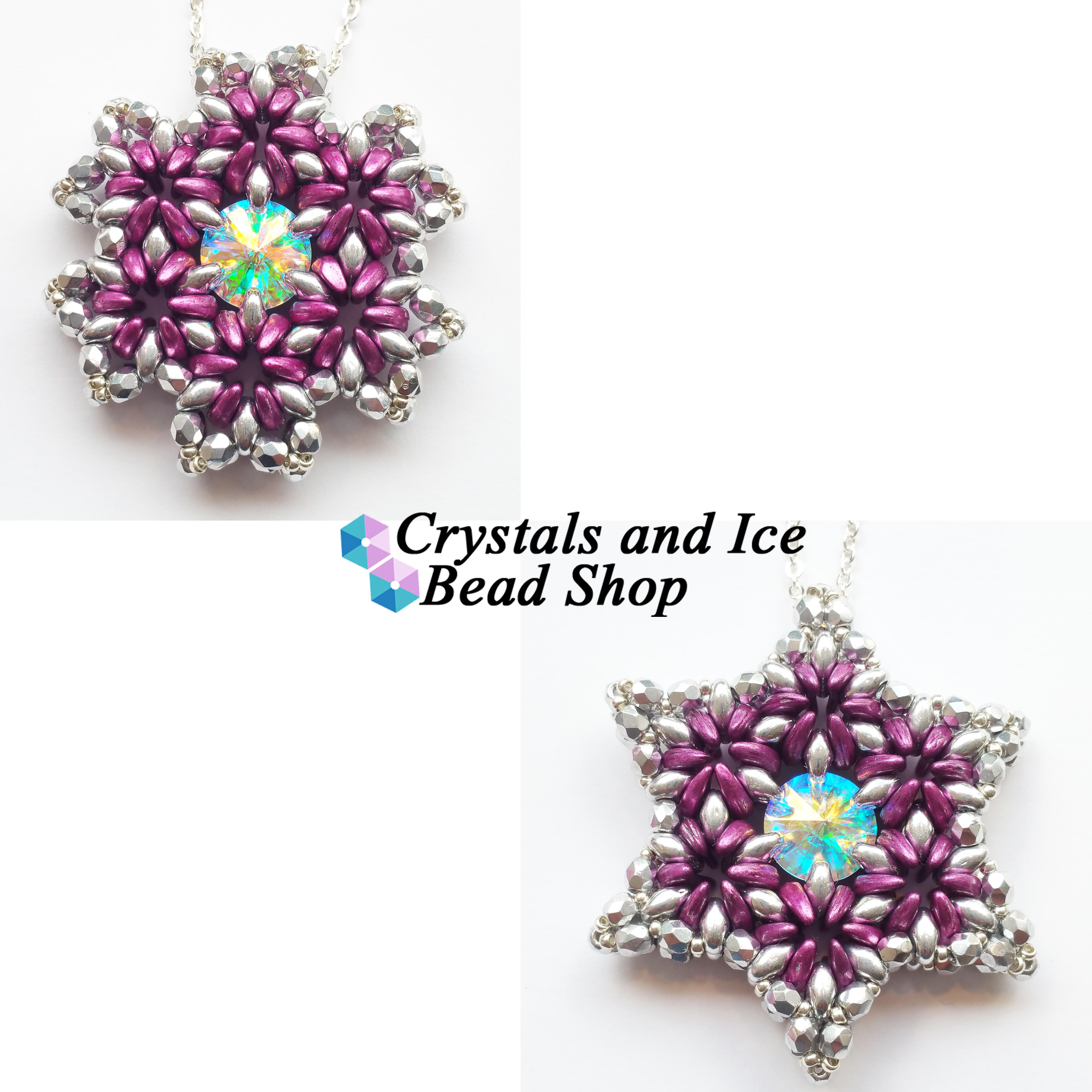 Crescent Star / Snowflake Flower Pendant Kit - Metallic Pink