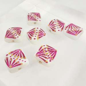 14mm White Square with Hand Painted Indian Fuchsia and Gold Fan Design
