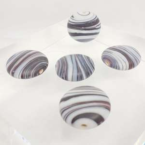 20mm Matte White Rounded Disc with Black and White Swirl Design