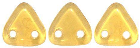 Czech Mates Two Hole 6mm Triangle in Topaz in Champagne Luster