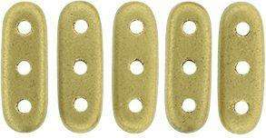 CzechMates Three Hole Beam Beads in Gold Matte Metallic