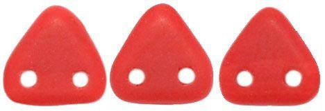 Czech Mates Two Hole 6mm Triangle in Matte Opaque Red