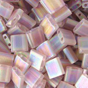 5mm Miyuki Tila Beads in Matte Transparent Smoky Amethyst AB