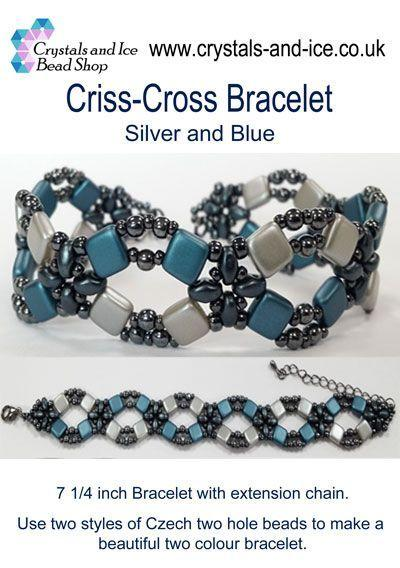Criss Cross Bracelet Kit - Silver and Blue