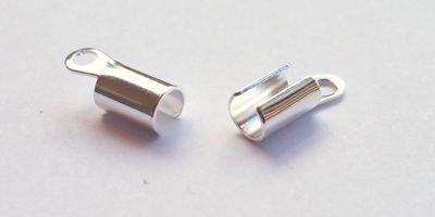 8x4mm Folding Crimp in Silver Plate