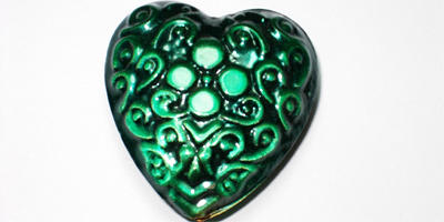 35mm Aluminium Heart - Green / Black