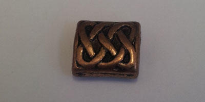 9.5x8.5mm Celtic Patterned Rectangular Bead - Copper Plated