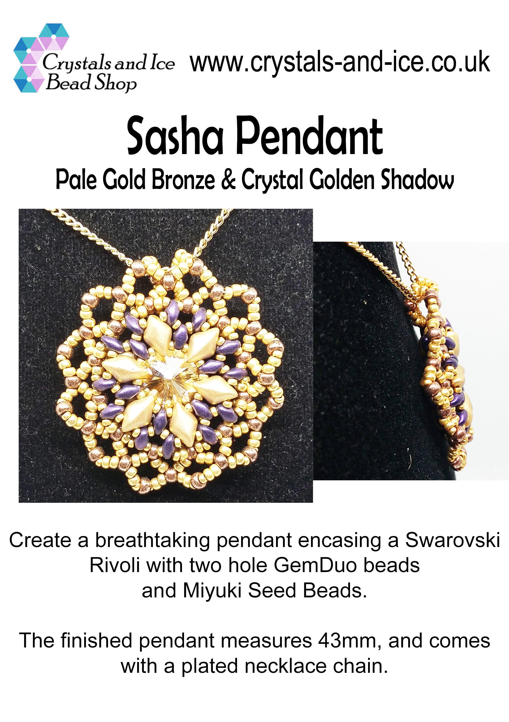 Sasha Pendant Kit - Pale Gold Bronze and Crystal Golden Shadow