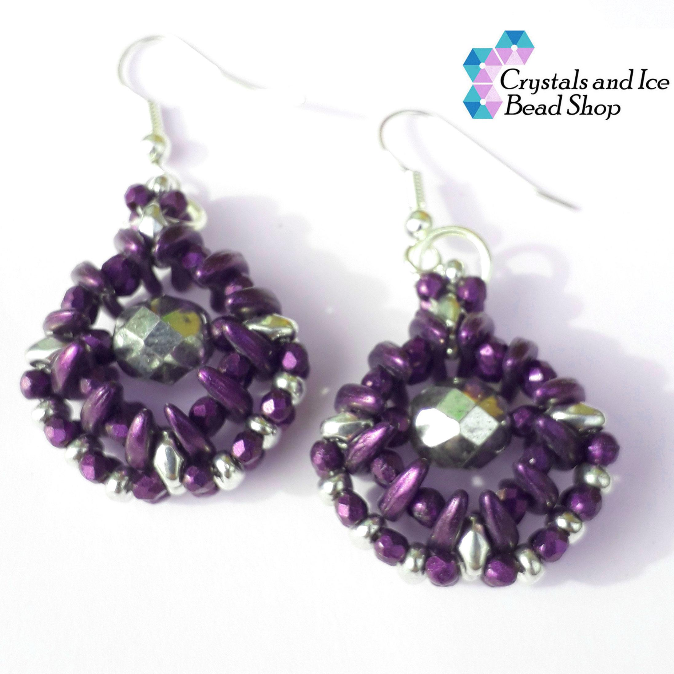 Osiris Earrings Kit - Purple and Silver