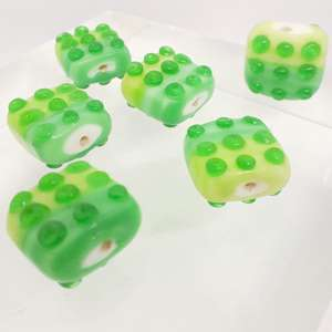 14mm Shaded Green Square with Raised Dot Pattern