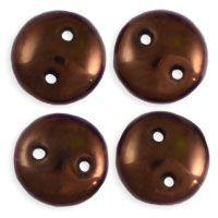 6mm Czech Mates Two Hole Lentil in Dark Bronze