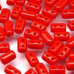 3x5mm Rulla Bead in Opaque Coral Red