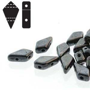 Two Hole Kite Beads in Jet Gunmetal