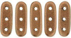 CzechMates Three Hole Beam Beads in Copper Matte Metallic