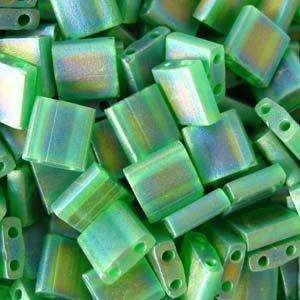 5mm Miyuki Tila Beads in Matte Transparent Green AB