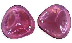14x13mm Czech Glass Rose Petal in Fuchsia
