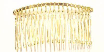 2.5 inch Hair Comb in Gold Plate