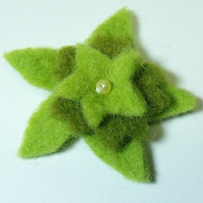 50mm Triple Layer Felt Flower in Light Green and Dark Green