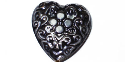 35mm Aluminium Heart - Purple / Black