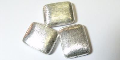 25x20mm Brushed Silver Plated Rectangle