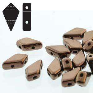 Two Hole Kite Beads in Jet Dark Bronze