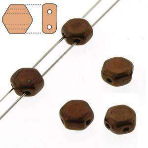 6mm Two Hole HoneyComb Beads in Jet Bronze