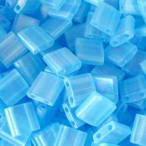 5mm Miyuki Tila Beads in Matte Transparent Light Blue AB