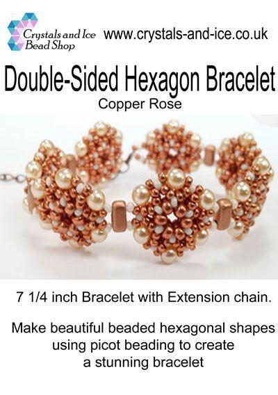 Double Sided Hexagon Bracelet Kit - Copper Rose