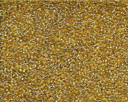 Miyuki Seed Beads 15/0 in Gold Trans. Silver Lined