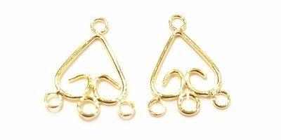 17x19mm 3 Loop Triangular Droppers in Gold Plate