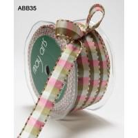 Half Inch Green/Ivory Check/Stitched May Arts Ribbon