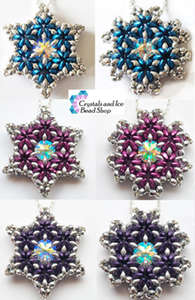 Beading Pattern - Crescent Star and Snowflake Flower Pendant