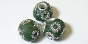 12mm Handmade Kashmiri Round - Teal with Silver Daisy Design