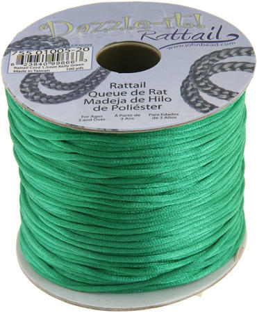 1.5mm Rattail Cord - Kelly Green