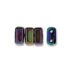 3x6mm Czech Mates Two Hole Brick in Iris Blue
