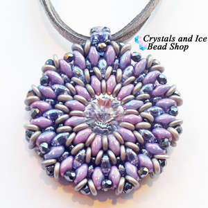 Celeste - Swarovski Rivoli Pendant Kit (Tanzanite Lustre, Nebula Chalk and Crystal)