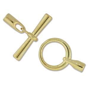 Small (3.2mm) Glue In Toggle and Bar - Gold Plate