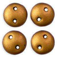 6mm Czech Mates Two Hole Lentil in Matte Metallic Goldenrod