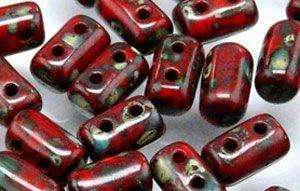 3x5mm Rulla Bead in Opaque Red Picasso