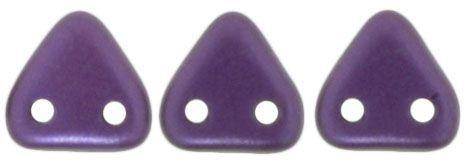 Czech Mates Two Hole 6mm Triangle in Purple Velvet Pearl