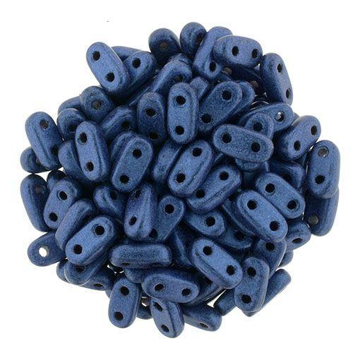 2x6mm CzechMates Two Hole Bar in Metallic Suede Blue