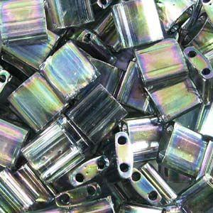 5mm Miyuki Tila Beads in Dark TransparentGrey Rainbow Luster