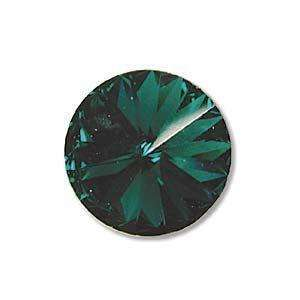 12mm Swarovski Rivoli (No Hole) in Emerald