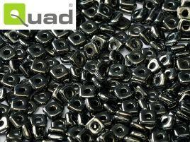 4mm Quad Bead in Jet Hematite