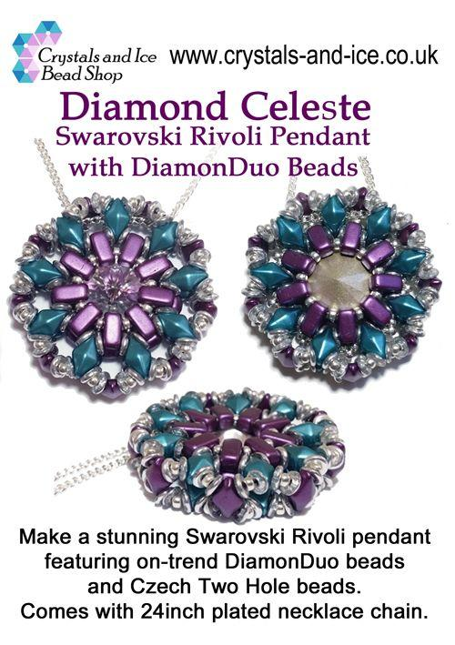 Diamond Celeste - Swarovski Rivoli Pendant Kit with DiamonDuo Beads - Wimbledon