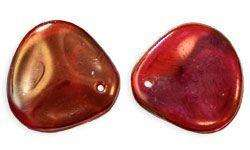 14x13mm Czech Rose Petal in Twilight Siam Ruby
