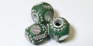12x10mm Handmade Kashmiri Barrel - Teal with Silver Stars