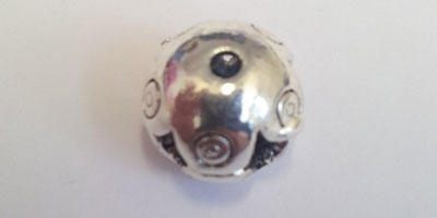 10mm Filigree Style Round Bead with Circle Pattern - Silver Plated